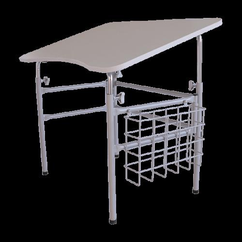 mesa escolar acessivel para pcd com tampo cine estrutura cinza